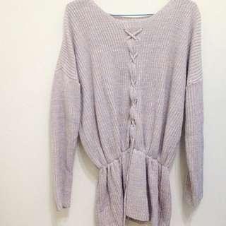 淡紫 藕紫色 針織毛衣 綁帶毛衣 正反兩穿