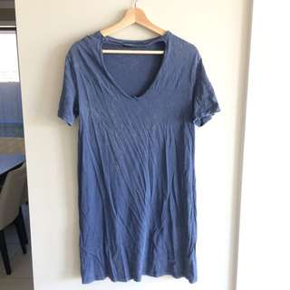 Sportsgirl Blue Acid Wash T Shirt Dress