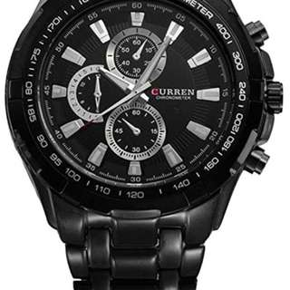 Curren Men Watch Luxury Military Black Case Stainless Steel Waterproof Analog Quartz Watches Black