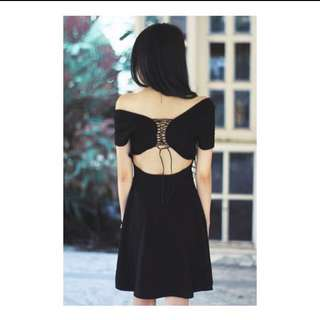 Lace Up Open Back Skater Dress