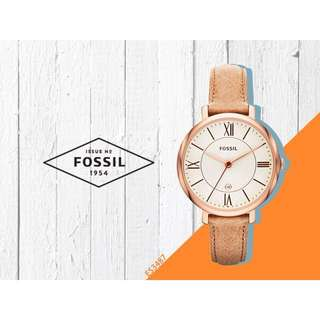 Fossil 玫瑰金邊框皮革女錶
