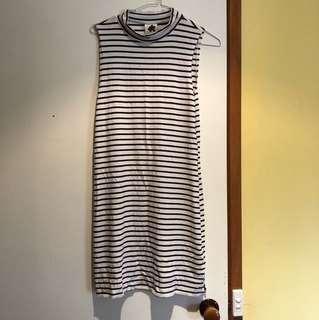 Subtitled stripe high neck dress