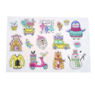 $4.30 Free Ink Pad Free Postage Christmas Clear Stamps Snowman Santa Penguin Sweater Car Bird Muffin Gingerbread House Colour Scooter Ornament Gloves Stamp