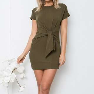 Khaki tie dress