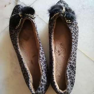 Leopard Fur flat shoe