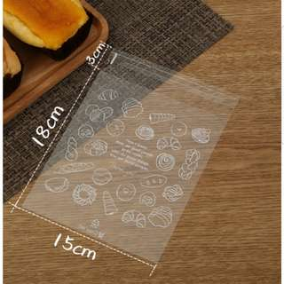 New Clear Assorted Bread Design Cookie Plastic Pouch 15cm