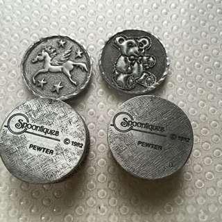 早期收藏-微型錫制圓型飾品盒