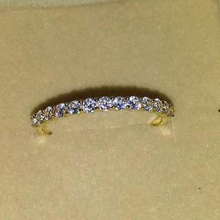 10k Solid Yellow Gold Ring Row Drill Sona Simulated Diamond Ring