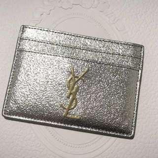 YSL silver metallic cardholder銀色型格卡片套