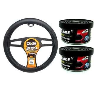 Dub AN8905 Steering Wheel Cover + Blade Organic Air Freshener New Car(set of 2)