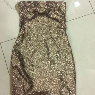 Clearance - elegant golden sequins tube dress