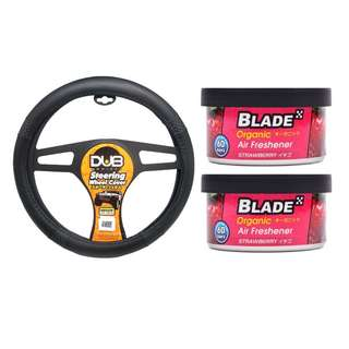 Dub AN8905 Steering Wheel Cover + Blade Organic Air Freshener Strawberry(set of 2)