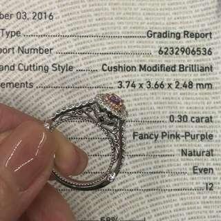 😍😍震撼價 $38000 再送神秘禮物😍😍 💫💫GIA證書 0.30卡 Fancy Purple-Pink 粉紅彩鑽💫💫現貨