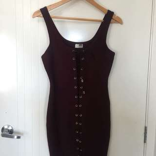 Lace up maroon dress