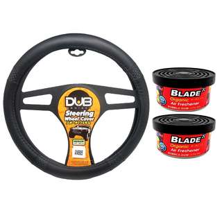 Dub AN8905 Steering Wheel Cover + Blade Organic Air Freshener Bubblegum(set of 2)