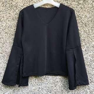 Black VNeck Bell Sleeves Top