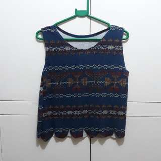 Knitted print crop top
