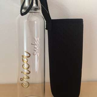 Personalized glass water bottle / heat embossed / customise / Christmas gift
