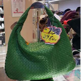BV Bottega Veneta Green Leather Classis One Shoulder Hand Bag 寶緹嘉 綠色 羊皮 皮革 織皮 織紋 肩袋 手挽袋 手袋 袋