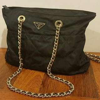 Prada Nylon Quilted Large Chain Shoulder Bag