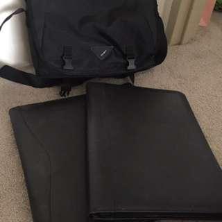 Computer bag & A4 hardcover memo portfolio file