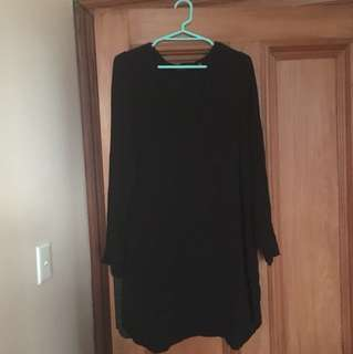 Glassons Long Sleeve V Neck Black Dress Size 14