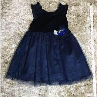 BLUE VELVET NET DRESS