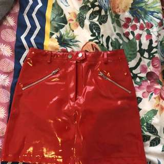 I AM GIA Red latex skirt