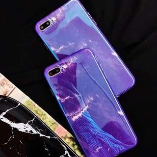 藍光亮面紫色雲石紋硬電話殼iphone case 6/6plus 7/7 plus X