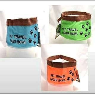 Pet Travel Collapsible Folding Bowl is great for any kind of travel time with your Pet NEW Holds 1 Litre of Water Colors Available : Blue, Green, or Orange $3.00 EACH