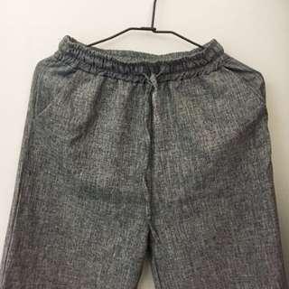 全新 亞麻寬褲❤️灰 不會透 長褲 格子