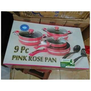 Pink Rose Cokkware Set Panci Set Sehat 9 Piece Teflon Anti Lengket