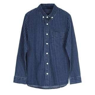 🚚 藍條紋牛仔襯衫
