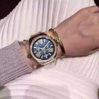新款MK手錶 MK6291女士腕錶 時尚鑲鑽圓盤手錶 休閒商務手錶 簡約歐美不鋼帶石英錶 防水日曆腕錶 潮流休閑手錶 精準時間腕錶