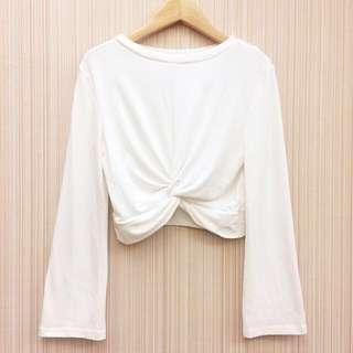 正韓 白色扭結綿質上衣