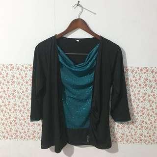 Baju cardigan black green