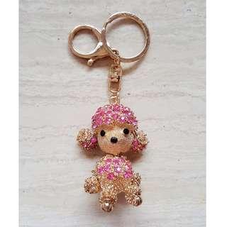 BN Dog / Puppy Sparky Rhinestone Bag Charm / Keychain (Rose-gold Pink)