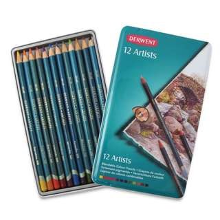 Derwent Artists Colored Pencils (4mm Core, Metal Tin, 12 Count)
