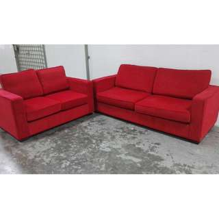 3+2 red color lint fabric sofas