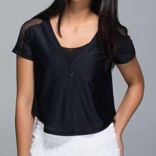 Lululemon Var-City Cropped Jersey Black Short Sleeve Tee Size 4 /Small Au 8