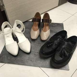 跳蚤市場❣️38號 方根簍空涼鞋/方頭復古瑪麗粗跟珍鞋 杏色/英倫流蘇真皮樂福鞋