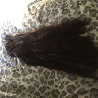 Full head dark choc brown hair extensions