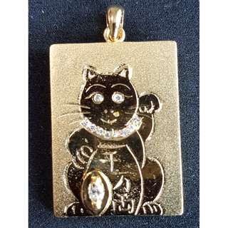Gold Pendant (Fortune Cat) with Diamonds