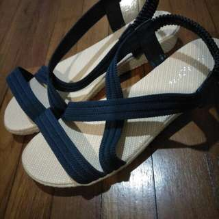 BN sandals with navy blue straps
