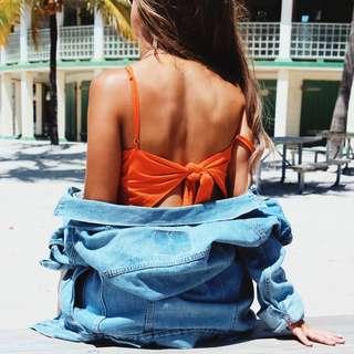 Orange Tie Back dress (SMALL)
