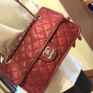 Chanel 紅色荔枝皮銀鍊冠軍包 最好用尺寸28公分