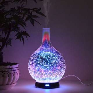 3D Firework Light Effect Ultrasonic Glass Diffusers Humidifier