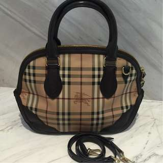 Burberry Haymarket Orchard Two Ways Carry in Brown Leather