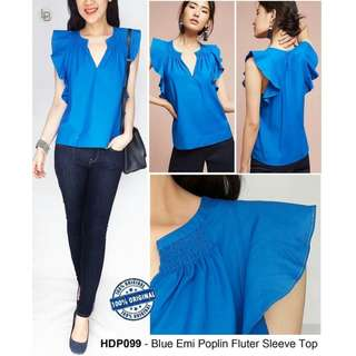 HDIn Paris Blue Emi Poplin Fluter Sleeve Top