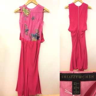 Shiatzy Chen pink long dress size F 36